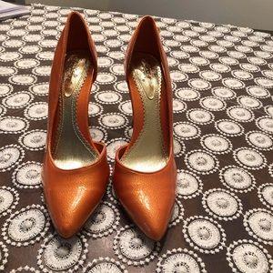 Qupid Metallic Orange Heels